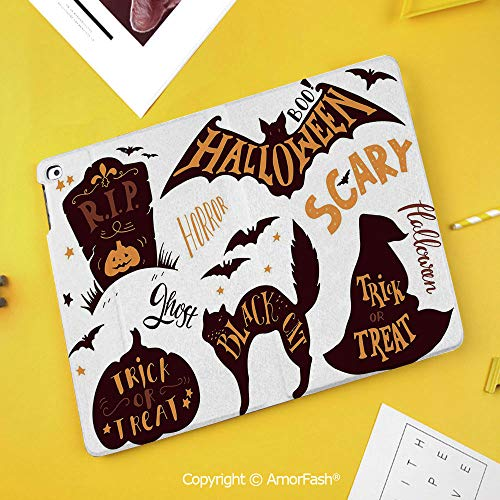 Printed Case for Samsung Galaxy Tab S4 Corner Protection Premium Vegan Leather Stand Cover,Vintage Halloween,Halloween Symbols Trick or Treat Bat Tombstone Candy Scary Decorative,Dark Brown -