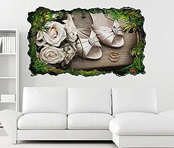 3d Wandtattoo Hochzeit Heirat Schuhe Ringe Gold Blumen Selbstklebend