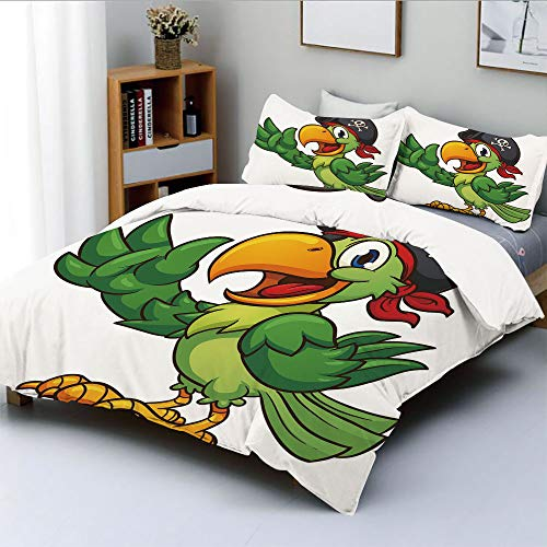 (Duplex Print Duvet Cover Set Full Size,Cartoon Parrot with Pirate Hat Eye Patch Waving Hand Gesture Cute Funny Character DecorativeDecorative 3 Piece Bedding Set with 2 Pillow Sham,Multicolor,Best Gif)