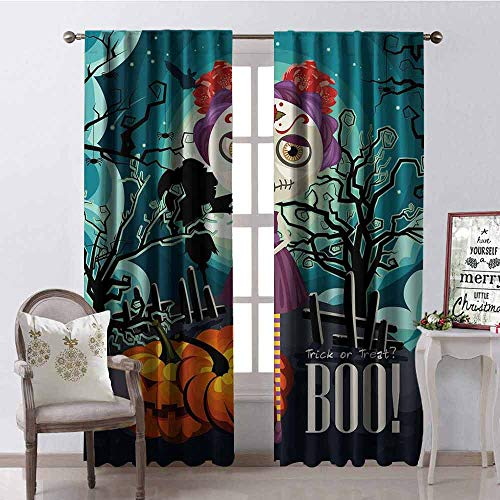 Gloria Johnson Halloween Heat Insulation Curtain Cartoon Girl with Sugar Skull Makeup Retro Seasonal Artwork Swirled Trees Boo for Living Room or Bedroom W52 x L95 Inch Multicolor]()