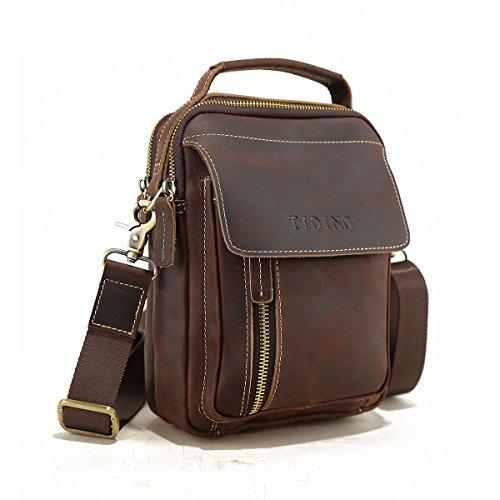 Tiding Vintage Men's Genuine Leather Shoulder Messenger Bag Crossbody Purse Satchel Travel Bag Handbag - with Detachable Strap ()