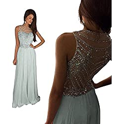 Women's Sparkly Crystal Prom Dresses Long 2017 Beading Chiffon Wedding Party Gowns Formal XY003Silver-US12