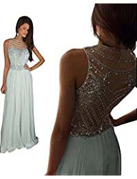 Womens Sparkly Crystal Prom Dresses Long 2018 Beading Chiffon Wedding Party Gowns Formal XY003