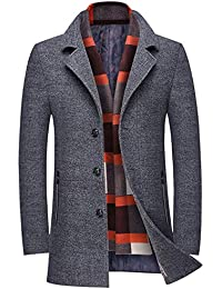 d60bf7399 Men s Slim Fit Winter Warm Short Wool Blend Coat Business Jacket with Free  Detachable Soft Touch