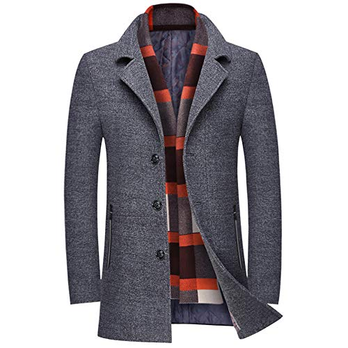 INVACHI Men's Slim Fit Winter Warm Short Wool Blend Coat Business Jacket with Free Detachable Soft Touch Wool Scarf (Top Pants Coat)