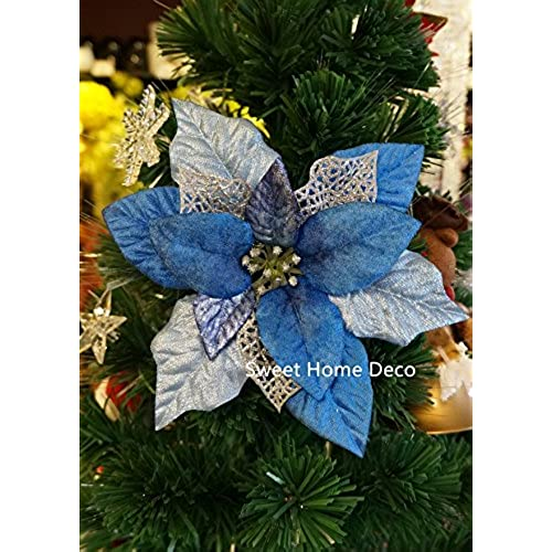 sweet home deco 10 silk poinsettias artificial flower heads christmas holiday decorations 5 flower heads blue