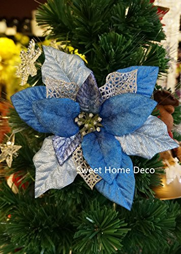 Sweet Home Deco 10'' Silk Poinsettias Artificial Flower Heads Christmas Holiday Decorations (5 Flower Heads) (Blue) (Flower Christmas Poinsettia)