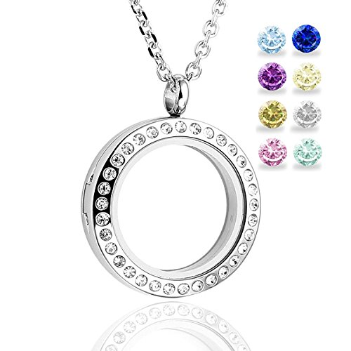 Glass Circle Magnetic 30mm Rhinestone Memory Floating Locket Pendant Chain Necklace - free 5 mm birthstones (Circle Birthstone Charm)