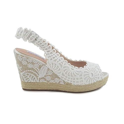 Cuña de Esparto Novia Abierta Encajes Blanco: Amazon.es: Zapatos y complementos