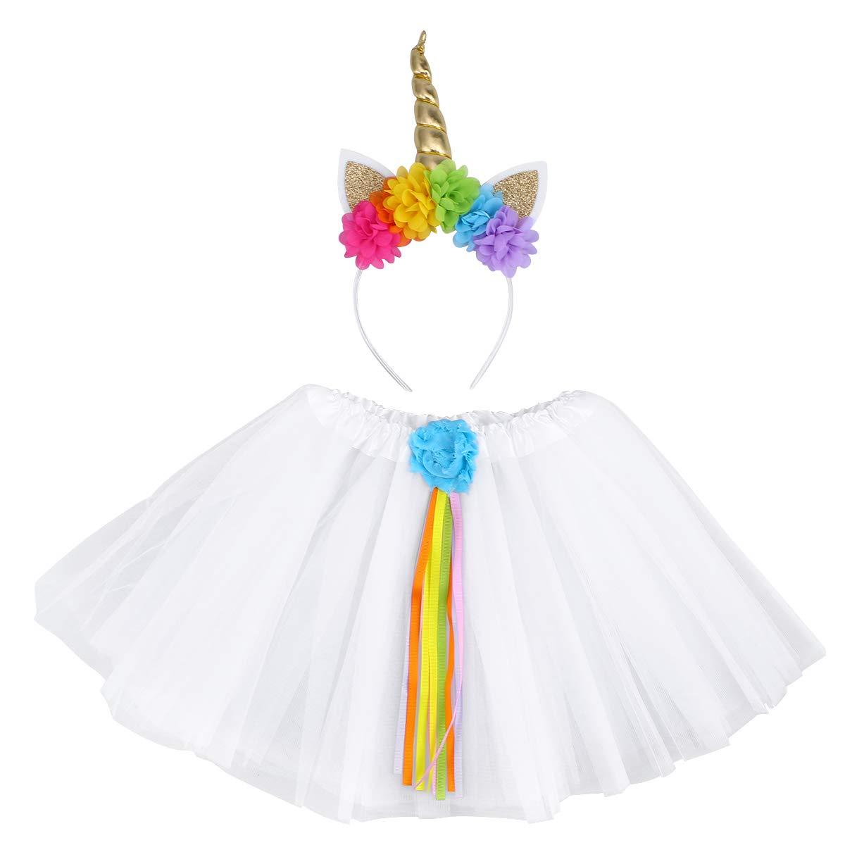 STOBOK Falda tutú Unicornio para niños y Conjunto de Diadema ...