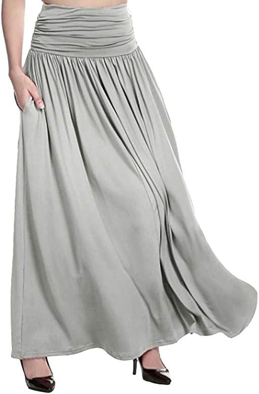 QinMMROPA Falda Larga de Plisado Elegantes para Mujer, Falda ...