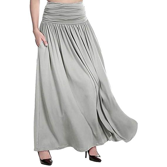 TOPKEAL Falda Larga de Cintura Alta para Mujer Falda Maxi de Color ...