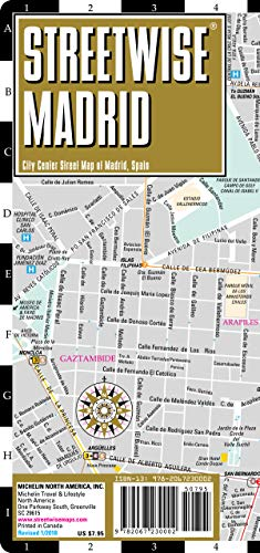 Streetwise Madrid Map - Laminated City Center Street Map of Madrid, Spain (Michelin Streetwise Maps) (Maps Of Spain)