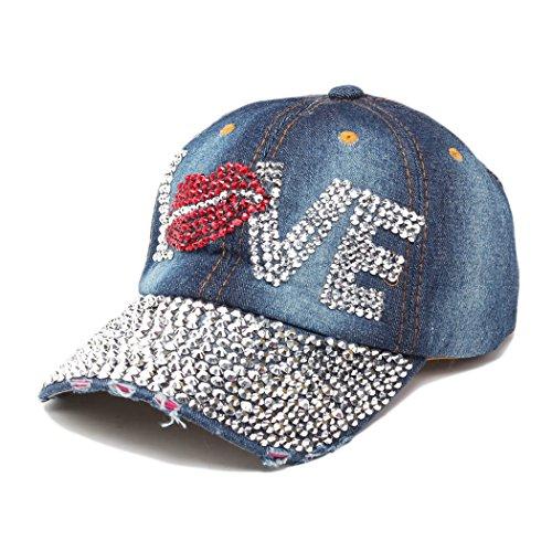 Crystal Skull Hat (Raylans Fashion Women Bling Studded Rhinestone Crystal LOVE Lips Baseball Caps Hats,5#)