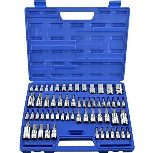 Neiko 10083A Master Torx Bit Socket and External Torx Socket Set | 60-Piece Set | S2 and Cr-V Steel (Drive T25 Torx Insert Bit)