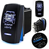 5 pin power window rocker switch - FABOOD F Waterproof 5 Pin BUMPER LIGHTS Rocker Switch Laser SPST ON/OFF Two LED Backlit Blue Light 20A 12V For Auto Automotive Motorcycle Truck Boat Marine Off-Road ATV Replace Kit (with Jumper Wire)