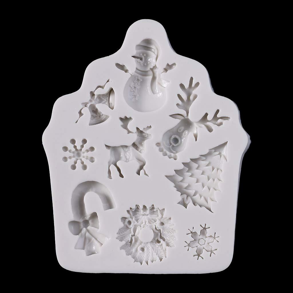 Qiulip Molde de silicona para fondant de Navidad para decoraci/ón de tartas y chocolates