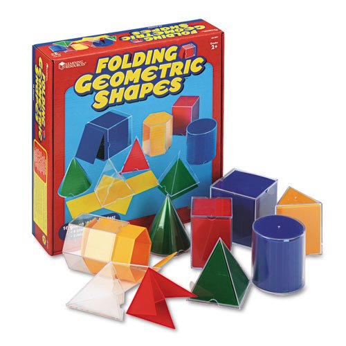 Learning Resources® - Folding Geometric Shapes, for Grades 2 and Up - Sold As 1 Set - 16-piece set includes eight transparent shapes and eight folding nets.