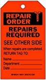 Brady  86511 7'' Height x 4'' Width, Heavy Duty Polyester (B-837), Black on Orange Inspection & Material Control Tags (10 Tags)