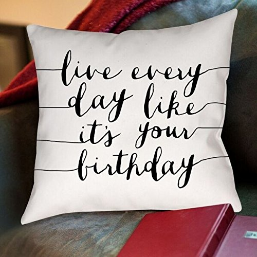 American Flat Live Everyday Like Its Your Birthday Pillow by Brett Wilson, 18'' x 18''