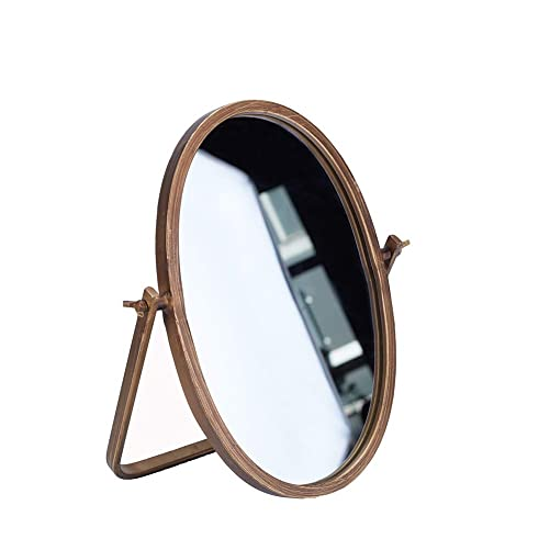 Geloo Desk Mirror Vintage Decorative – Makeup Mirror 360 Rotation Metal Framed – Vanity Mirror 10 Inch Table Mirror Adjustable Stand for Personal Tabletop and Bedroom Living Room – Oval
