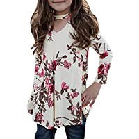 KunLunMen Girls T Shirts Cute Floral Tops Swing Tunic Blouses Kids Fall Clothes