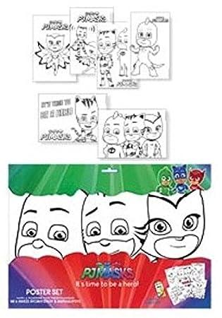 Set 6 laminas A3 con rotuladores de Pj Masks