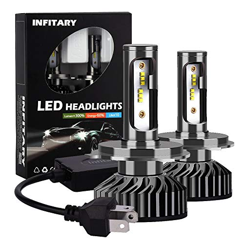 Infitary H4 9003 HB2 LED Headlight Bulbs Conversion Kits High/Low Beam Auto Headlamp Car Headlight 64W 6500K 8000LM Super Bright- 1 Pair- 3 Year Warranty