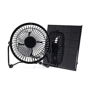 Nuzamas Ventilador de 3 W 6 V con panel solar para camping, caravana, yate, invernadero, casa de perro, pollo, casa ventilador