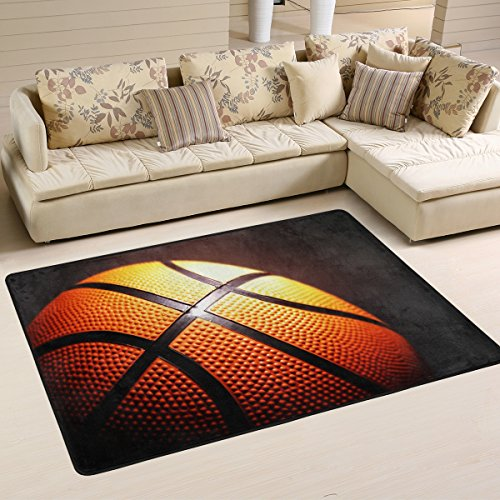 (XiangHeFu Personalized Area Rugs Basketball Black Background 3'x2' (36x24 Inches) Floor Doormats Mat Soft for Living Room Bedroom Home Kitchen Decorative)
