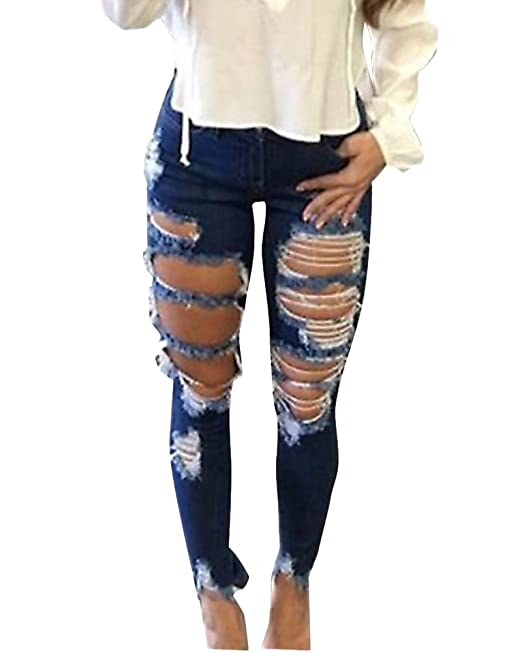 ZongSen Donna Elegante Skinny Denim Jeans Strappato Pantaloni Stirata Slim  Fit Jeans Come Immagine XXL f6d71d92539