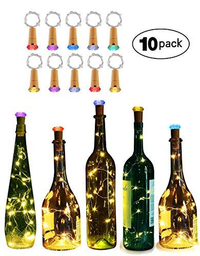 10 Packs Wine Bottle Lights Genround Diamond Shape Led Bottle Lights [Battery Operated] Fairy String Light for Valentine's Day, Wedding, Party(Warm White)