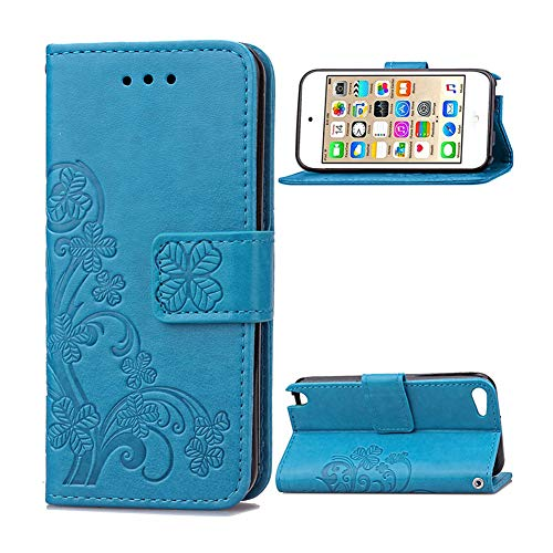 (iPod Touch 6 Wallet Case,iPod Touch 5th Generation Case,Embossed Floral PU Leather Flip Stand Cover & Wrist Strap Card Holders for iPod Touch 5th/6th Generation)