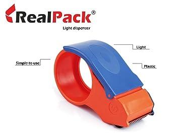 Realpack 1 x dispensador de cinta de uso ligero – fácil de usar plástico Cortador de