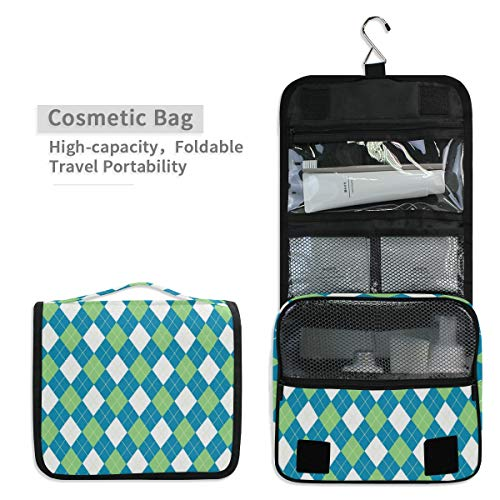 Toiletry Organizer Wash Bag,Argyle Pattern Blue Green Portable travel bathroom shower bag Deluxe Large Capacity Waterproof Pouch Kit with Hook for Men and Woman