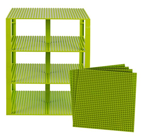 Strictly Briks Classic Baseplates 10 x 10 Brik Tower 100% Compatible with All Major Brands   Building Bricks for Towers and More   4 Lime Green Stackable Base Plates & 60 Stackers