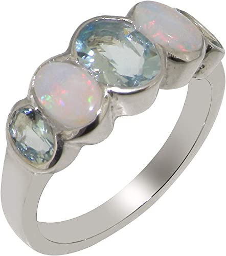 Solid 925 Sterling Silver Natural Opal /& Aquamarine Womens Trilogy Ring