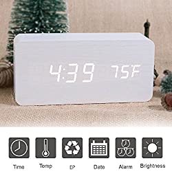 Wooden Digital Alarm Clock, SHEJIZE LED Desk Travel Mute Alarm Clock with Time Temperature and Sound Control (White)