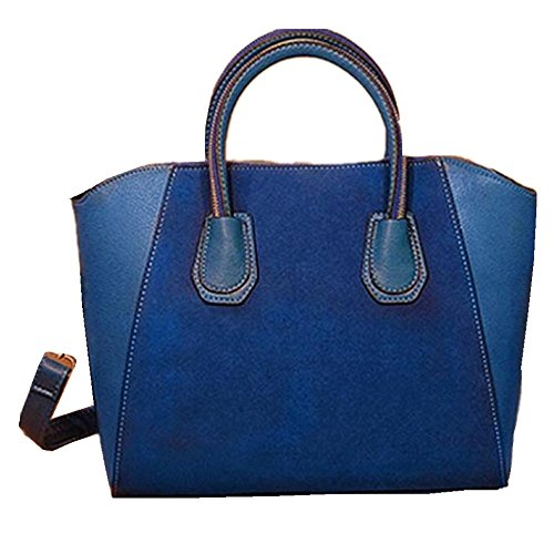 Women Handbag Shoulder Bags Tote Purse Frosted PU Leather Bag Blue - 4