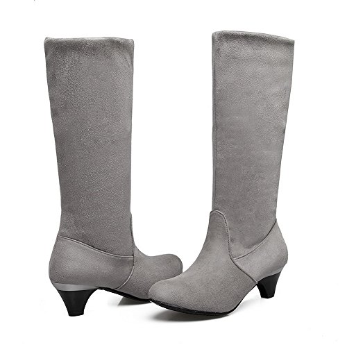 Closure High Heel MNS02395 Urethane No Boots Top Toe Womens Urethane Nubuck Low Slouch Lining Road Pointed Boots Warm Rubber Gray 1TO9 0EqwXE