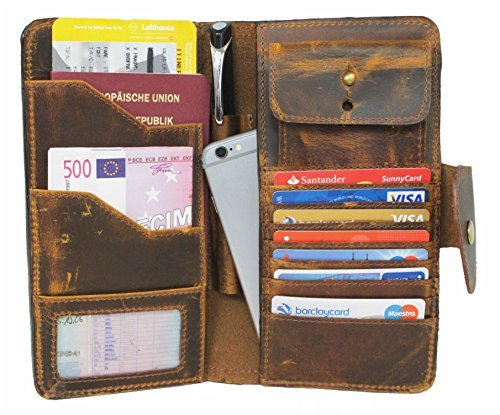 (Travel Wallet for Men Women Genuine Leather Organizer ID Card Holder Large Capacity Corno d´Oro Seattle)