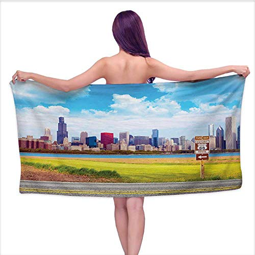 Bensonsve Bath Towel Baby Chicago Skyline,Historical Route 66 Highway Background with Skyscrapers Freedom Picture,Multicolor,W31 xL63 for Kids Mickey Mouse