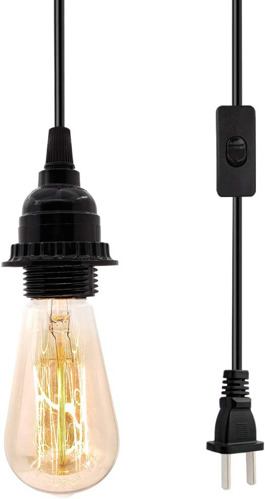 E26 E27 Retro Hanging Lights with Plug in Cord 19.69 FT Cord with On//Off Switch Hanging Lamp Fixture for Living Room Bedroom Industrial Pendant Lighting Fixture Vintage Plug in Hanging Light Kit