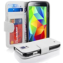 Cadorabo - Book Style Wallet Design for Samsung Galaxy S5 / S5 NEO (I5500) with 2 Card Slots and Money Pouch - Etui Case Cover Protection in SNOW-WHITE