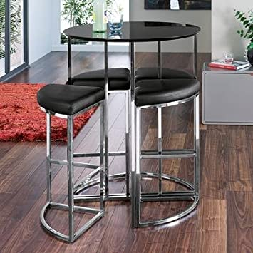 Ensemble Table Haute De Bar Ronde Et 4 Chaises Noir Amazon Fr