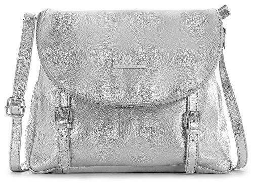 Silver Tuscan Body Cross Buckle Medium Italian Genuine LiaTalia Soft Shoulder Effect Leather Metallic Stella Handbag a6FZqf