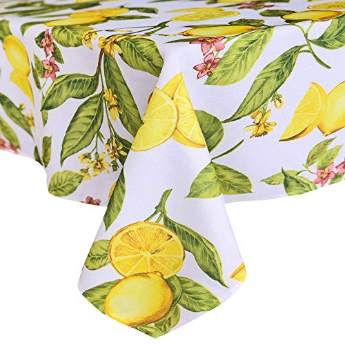 Oval Fabric Tablecloth - Newbridge Lemon Zest Botanical Print Indoor/Outdoor Fabric Tablecloth - Yellow Lemon Vine Soil Resistant, Water Repellent Fabric Tablecloth, 60 Inch X 84 Inch Oval