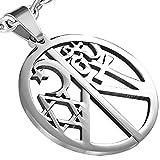 Star of David, Half Moon, Cross, Ohm Hindu Unisex Pendant w/ Free Chain Necklace - 33 mm Diameter - 18