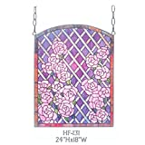 HF-131 Rural Vintage Tiffany Style Stained Church Art Glass Decorative Purple Roses Sector Design Window Hanging Glass Panel Suncatcher, 24''H18''W