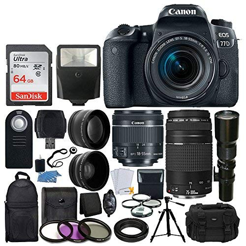 Canon EOS 77D DSLR Camera + Canon EF-S 18-55mm is STM Lens + Canon EF 75-300mm III Lens + Wide Angle & Telephoto Lens + 64GB Memory Card + Telephoto 500mm f/8.0 (Long) + Wireless Remote + Accessories (Canon T5i Wireless Memory Card)